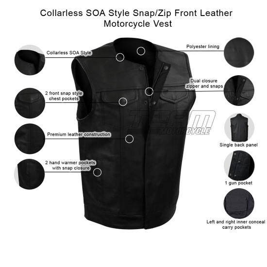 Collarless SOA Style Snap/Zip Front Leather Motorcycle Vest - Infographics