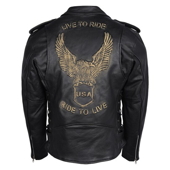 High Mileage HMM525 Men's Eagle Embossed Live To Ride - Ride To Live Classic Black Leather Motorcycle Biker Jacket - Brown