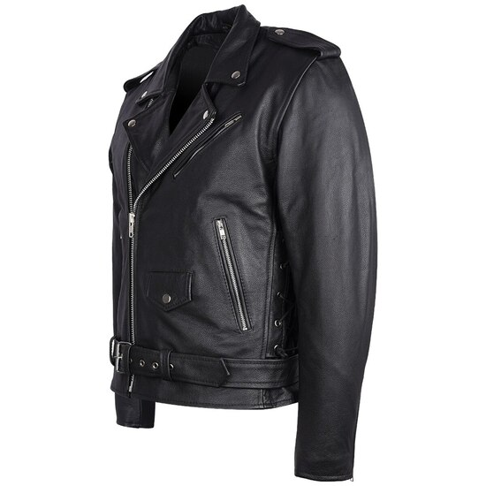 High Mileage HMM525 Men's Eagle Embossed Live To Ride - Ride To Live Classic Black Leather Motorcycle Biker Jacket