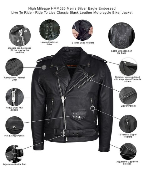 High Mileage HMM525 Men's Eagle Embossed Live To Ride - Ride To Live Classic Black Leather Motorcycle Biker Jacket - Infographics