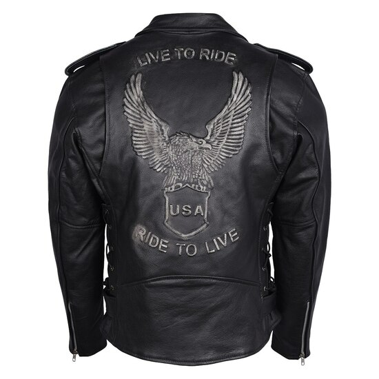 High Mileage HMM525 Men's Eagle Embossed Live To Ride - Ride To Live Classic Black Leather Motorcycle Biker Jacket - Silver