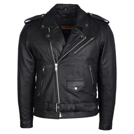 High Mileage HMM525 Men's Eagle Embossed Live To Ride - Ride To Live Classic Black Leather Motorcycle Biker Jacket - Front View