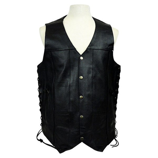 Vance MV106 Tall Size Mens Black Concealed Carry Ten Pocket Leather Vest