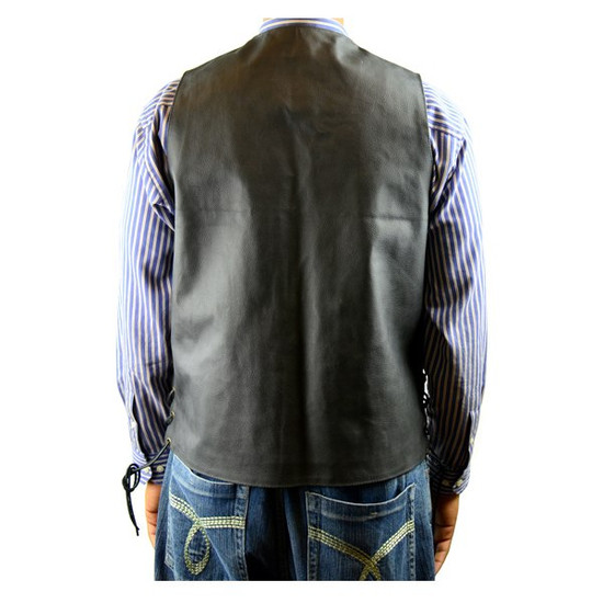Vance MV106 Tall Size Mens Black Concealed Carry Ten Pocket Leather Vest -Back View