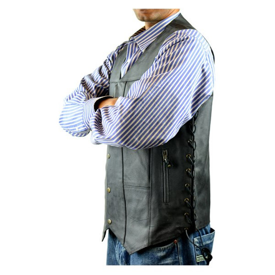 Vance MV106 Tall Size Mens Black Concealed Carry Ten Pocket Leather Vest -Side View