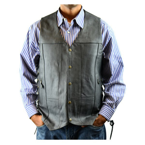 Vance MV106 Tall Size Mens Black Concealed Carry Ten Pocket Leather Vest -Front View