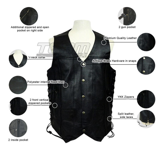 Vance MV106 Tall Size Mens Black Concealed Carry Ten Pocket Leather Vest - Infographics