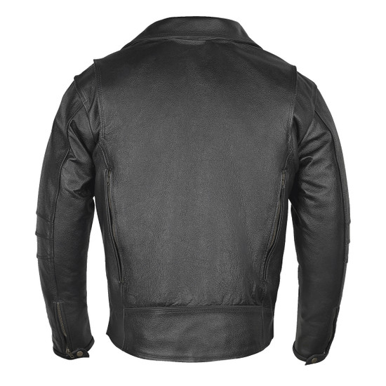 High Mileage HMM517L Men's Dual Conceal Carry Premium Lightweight Goatskin Leather Motorcycle Biker Jacket - Back View