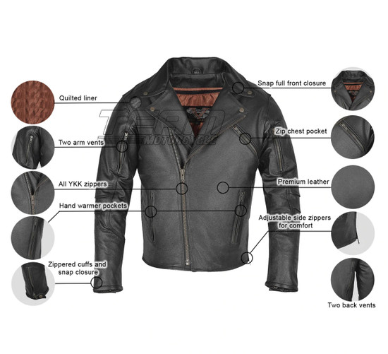 High Mileage HMM517L Men's Dual Conceal Carry Premium Lightweight Goatskin Leather Motorcycle Biker Jacket - Infographics