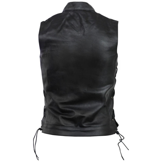 Vance VL912S Mens Black SOA Club Style Leather Motorcycle Vest With Side Laces -Back View