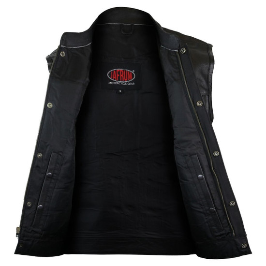 Vance VL912S Mens Black SOA Club Style Leather Motorcycle Vest With Side Laces -Open View