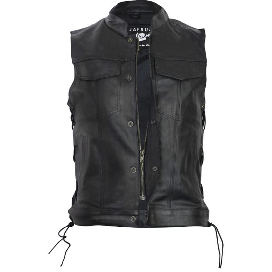 Vance VL912S Mens Black SOA Club Style Leather Motorcycle Vest With Side Laces -Front View
