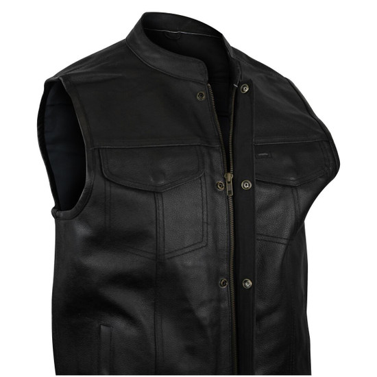Vance VL912S Mens Black SOA Club Style Leather Motorcycle Vest With Side Laces -Detail View