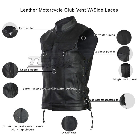 Vance VL912S Mens Black SOA Club Style Leather Motorcycle Vest With Side Laces - Info