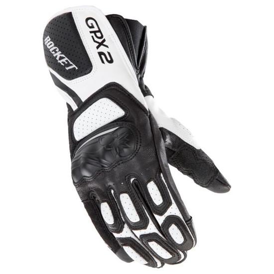 Joe Rocket GPX 2.0 Mens Leather Motorcycle Gloves - Black/White