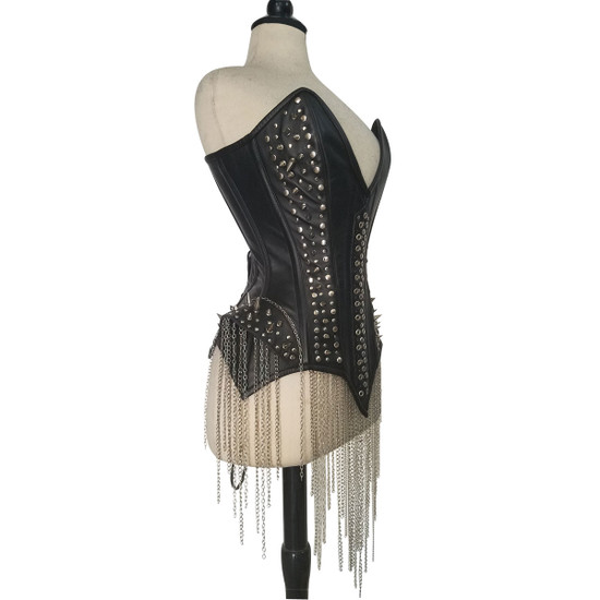 Ladies Studs and Spikes Leather Corset Side View