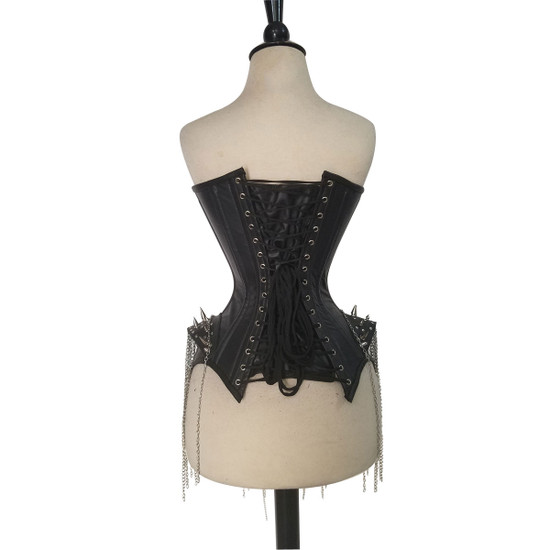 Ladies Studs and Spikes Leather Corset Back View