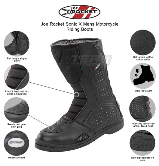 Joe Rocket Sonic X Mens Motorcycle Riding Boots - Infographics