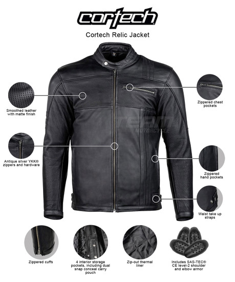Cortech Relic Mens Motorcycle Leather Jacket - infographics