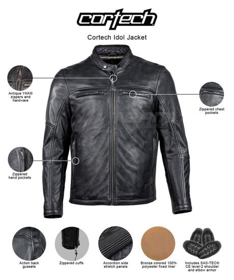 Cortech Idol Mens Motorcycle Leather Jacket - infographics