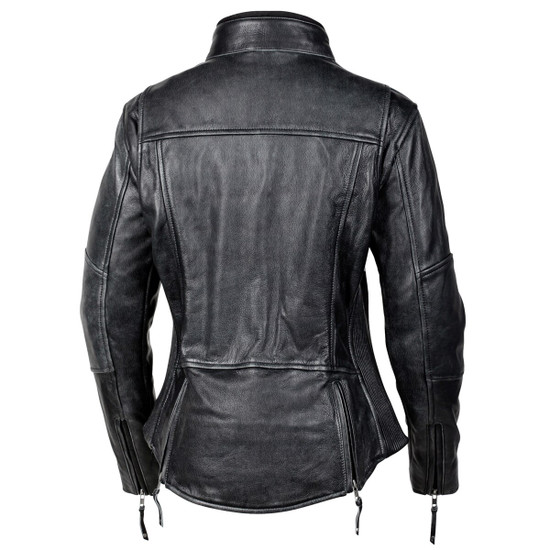 Cortech Women's Lolo Motorcycle Leather Jacket - Black Back View