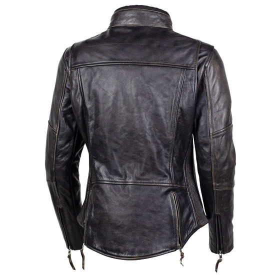 Cortech Women's Lolo Motorcycle Leather Jacket - Brown Back View