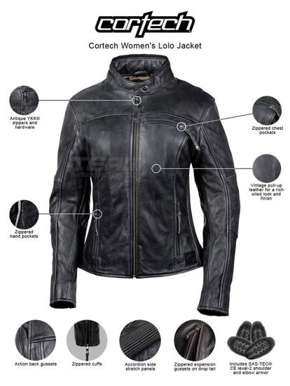 Cortech Women's Lolo Motorcycle Leather Jacket - infographics