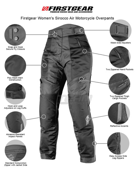 Firstgear Women's Sirocco Air Motorcycle Overpants - Infographics