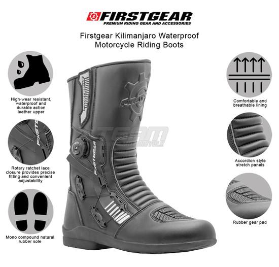 Firstgear Kilimanjaro Waterproof Motorcycle Riding Boots - Infographics