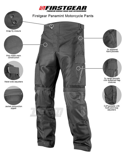 Firstgear Panamint Motorcycle Pants - Infographics
