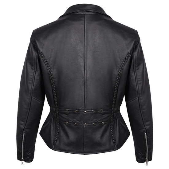 Vance Leather VL615 Women's Black Soft Cowhide Braided and Studded Biker Motorcycle Riding Jacket - Back View