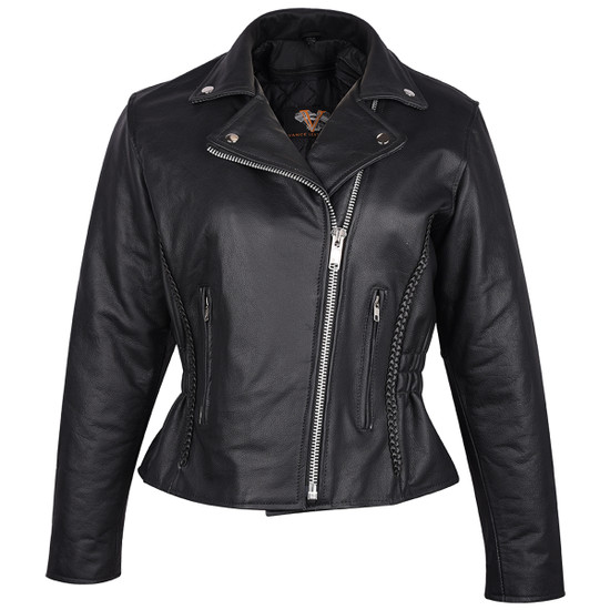 Vance Leather VL615 Women's Black Soft Cowhide Braided and Studded Biker Motorcycle Riding Jacket - Front View