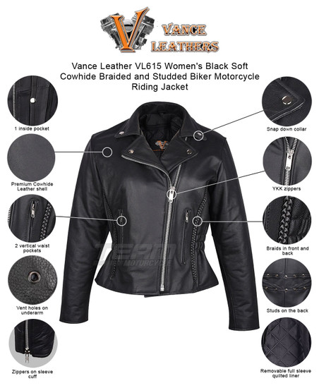 Vance Leather VL615 Women's Black Soft Cowhide Braided and Studded Biker Motorcycle Riding Jacket - Infographics