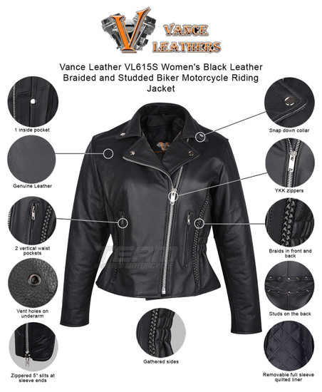 Vance Leather VL615S Women's Black Leather Braided and Studded Biker Motorcycle Riding Jacket - Infographics