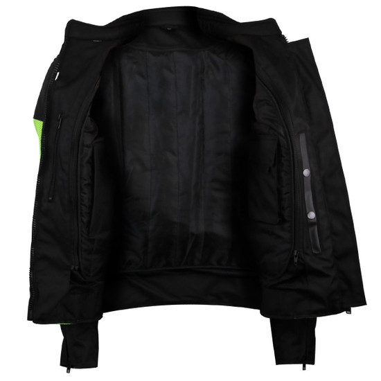 Advance Vance VL1673HG Womens High Visibility Neon All Weather Season CE Armor Mesh Motorcycle Riding Jacket - Open View