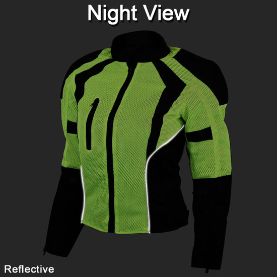 Advance Vance VL1673HG Womens High Visibility Neon All Weather Season CE Armor Mesh Motorcycle Riding Jacket - Night View