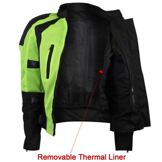 Advance Vance VL1673HG Womens High Visibility Neon All Weather Season CE Armor Mesh Motorcycle Riding Jacket - Liner