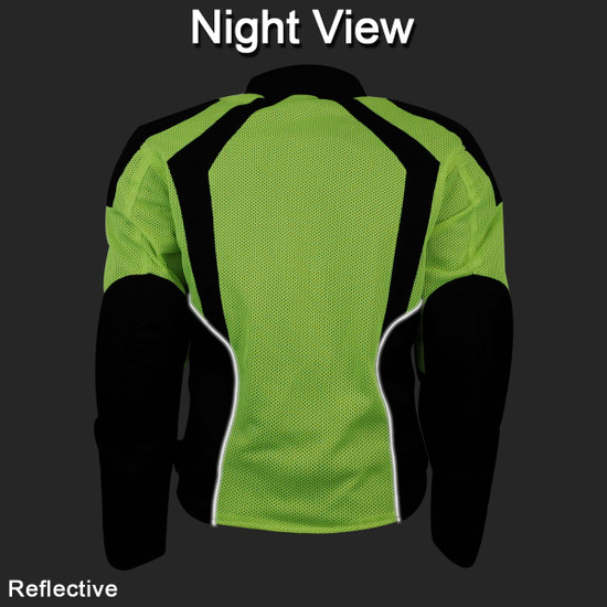 Advance Vance VL1673HG Womens High Visibility Neon All Weather Season CE Armor Mesh Motorcycle Riding Jacket - Night Back View