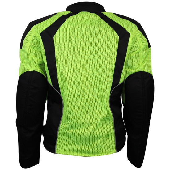 Advance Vance VL1673HG Womens High Visibility Neon All Weather Season CE Armor Mesh Motorcycle Riding Jacket - Back View