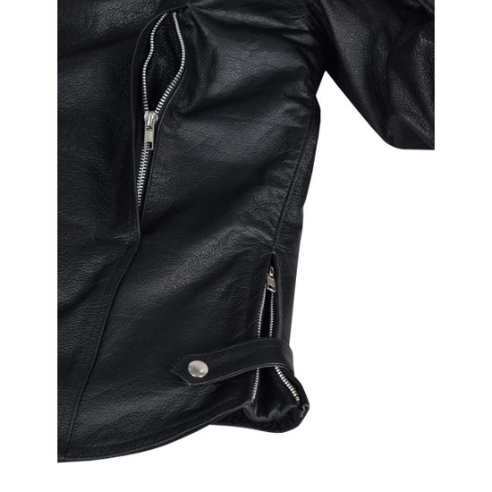 High Mileage HMM544 Men's Advanced Clean Cut Concealed Carry Black Cowhide Leather Scooter Biker Riding Jacket - Detail View