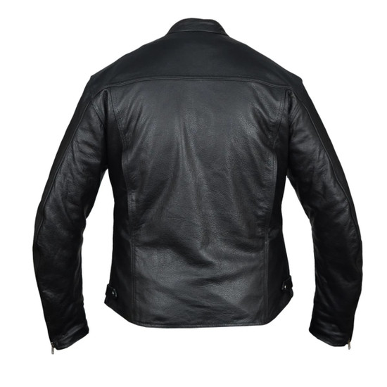 High Mileage HMM544 Men's Advanced Clean Cut Concealed Carry Black Cowhide Leather Scooter Biker Riding Jacket - Back View