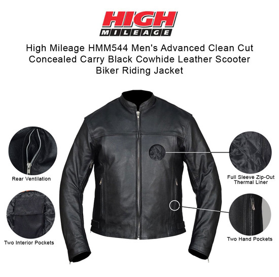 High Mileage HMM544 Men's Advanced Clean Cut Concealed Carry Black Cowhide Leather Scooter Biker Riding Jacket - infographics