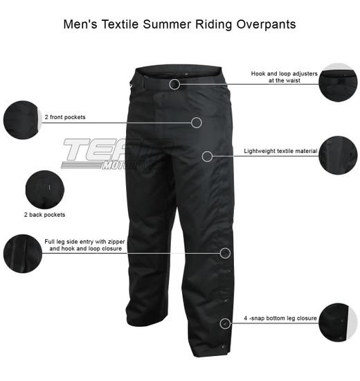 Men's Textile Summer Riding Overpants - Infographics