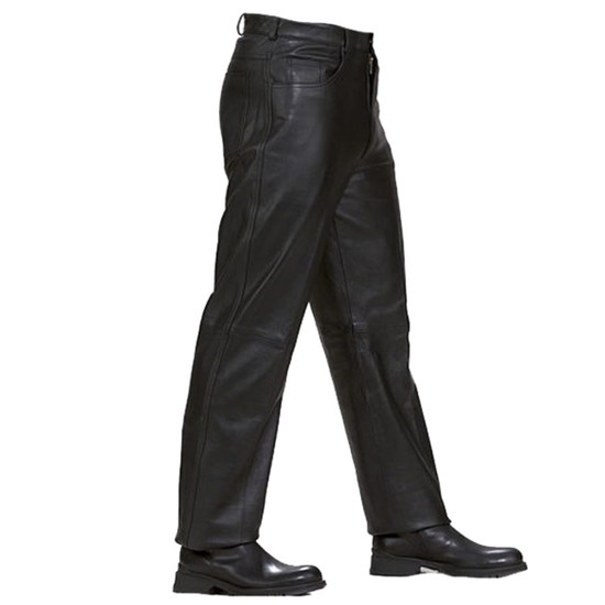 Mens Black Premium Cowhide Jeans Style Biker Motorcycle Leather Pants
