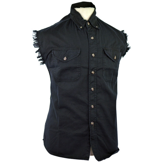 Vance Mens Biker Motorcycle Summer Sleeveless Denim Cut Off Shirt - Black