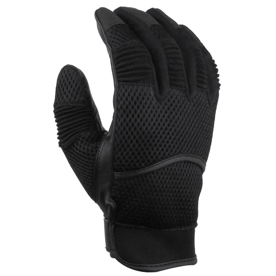Vance GL707 Mens Black Short Mesh Motorcycle Gloves - Black