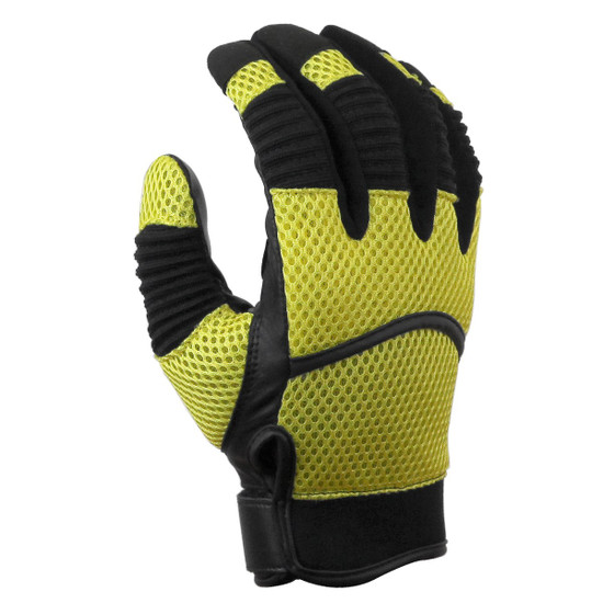 Vance GL707 Mens Black Short Mesh Motorcycle Gloves - Yellow