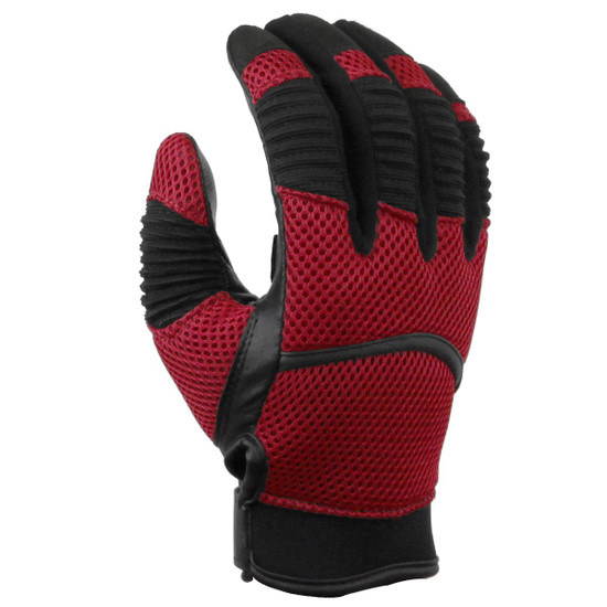 Vance GL707 Mens Black Short Mesh Motorcycle Gloves - Red