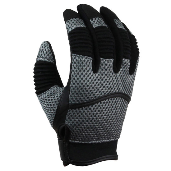 Vance GL707 Mens Black Short Mesh Motorcycle Gloves - Grey