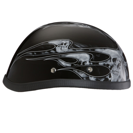 Daytona Novelty Eagle With Skull Flames Silver Half Helmet - Left